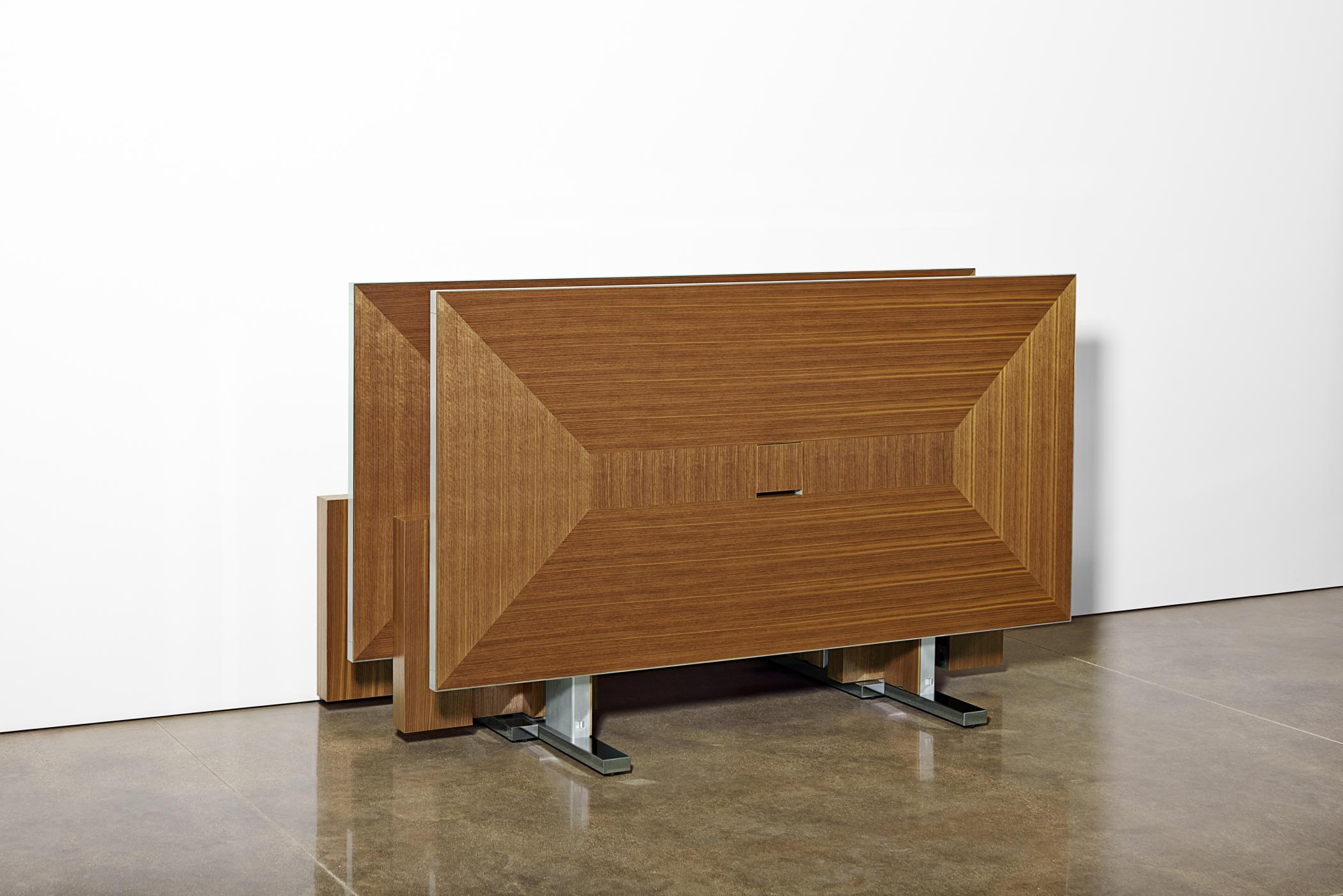 Nested Motus mobile tables with veneer pattern surface